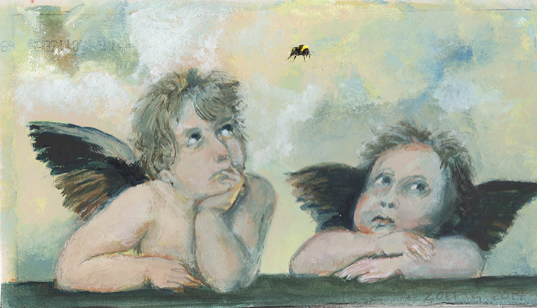 Cherubs with bumble bee small